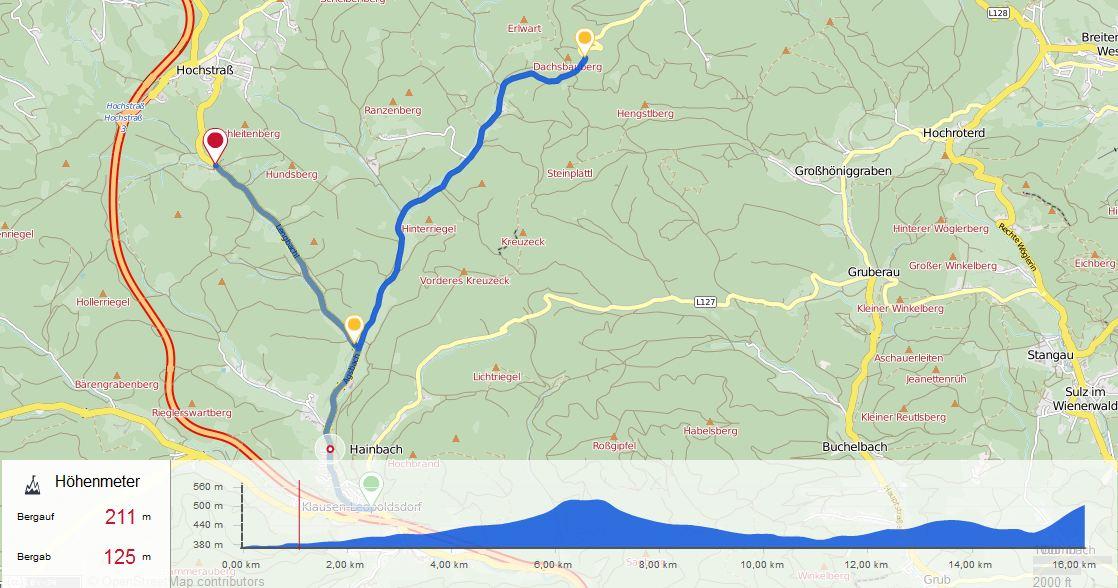 Kartenansicht Strecke Zeitfahren 2 am 05.05.2017