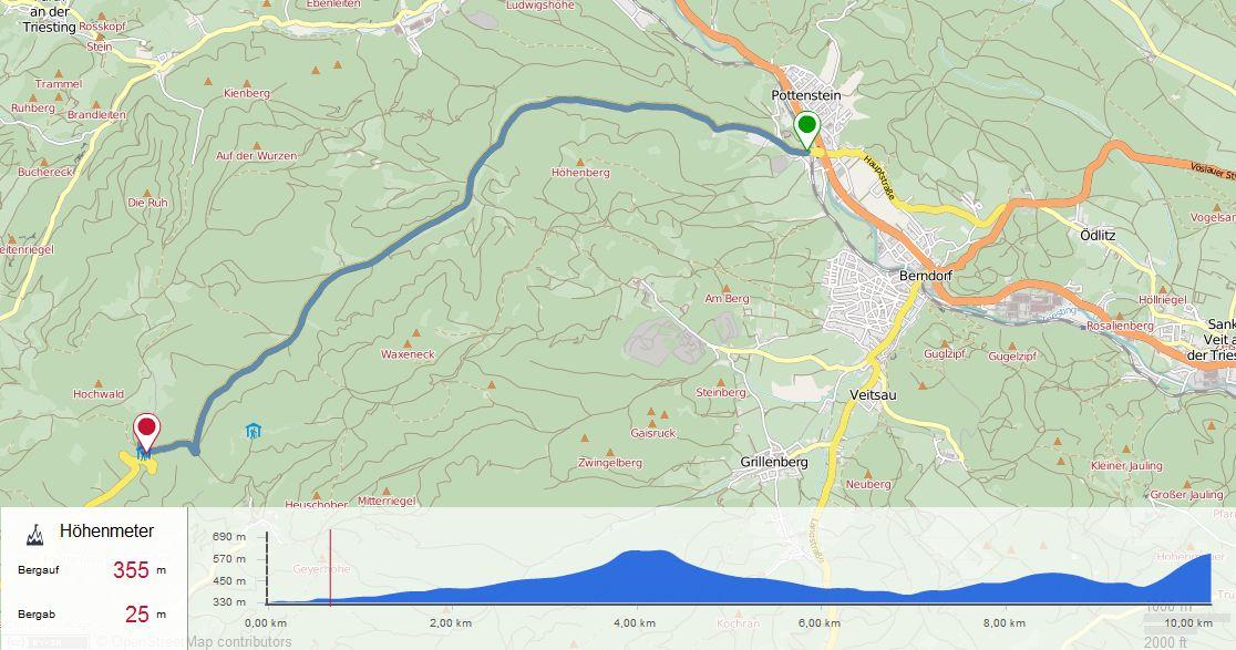 Kartenansicht Strecke Zeitfahren 3 am 12.05.2017