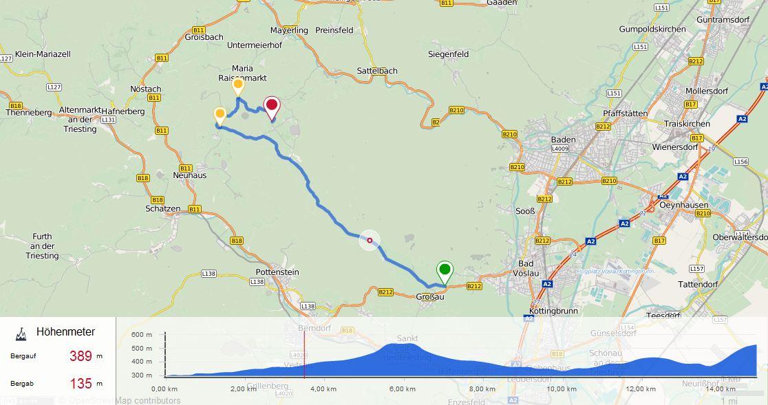 Kartenansicht Strecke Zeitfahren 5 am 09.06.2017